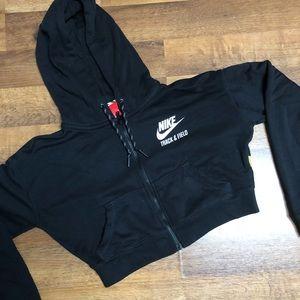Nike Sweaters - NIKE track & field crop zip up hoodie. Black sz XS